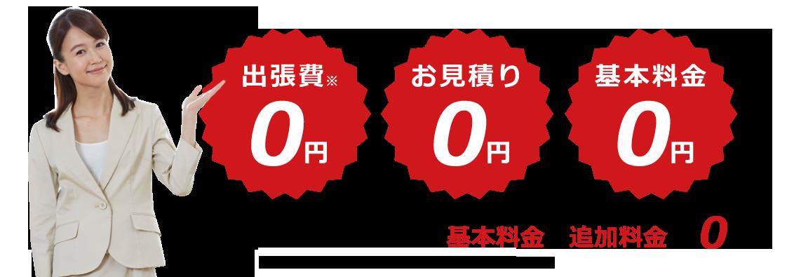 他社だと必ず発生する基本料金や出張費用が0円!
